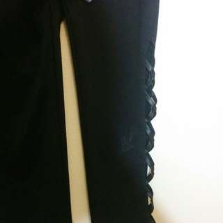 Black Jeggings with Leather Criss Cross