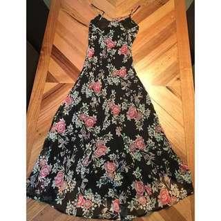 Bardot black floral maxi dress, size 10