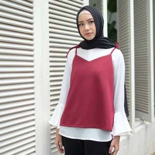 Spagetti top with white blouse