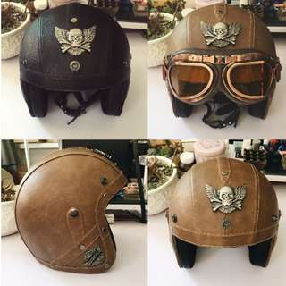 Many colour Vintage Harley Davidson smooth leather helmets with metal emblems