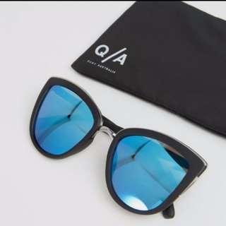 quay 'my girl' blue reflective cat eye sunglasses