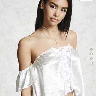 Off-The-Shoulder Satin Crop Top BNWT