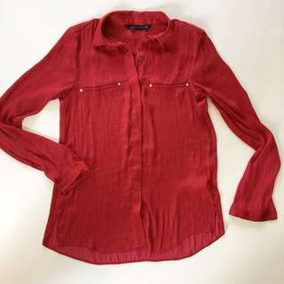 Red satin feel shirt pocket details from Topshop size XS