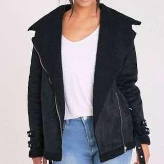 Prettylittlething Emilia black suede/ Sherpa winter coat jacket