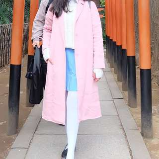 Zara Pink Long Coat masih ada price tag nya
