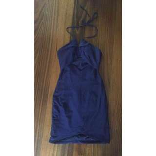 Ava navy blue halter dress