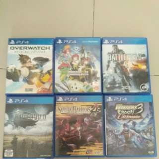 Ps4 games. Overwatch, Digimon CyberSleuth, Bf4, Final Fantasy XV,  Samurai Warriors 4 and Warriors Orochi Ultimate 3.