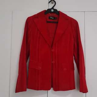 MANGO RED HEAVY STRUCTURED BLAZER WITH 2 BUTTONS .