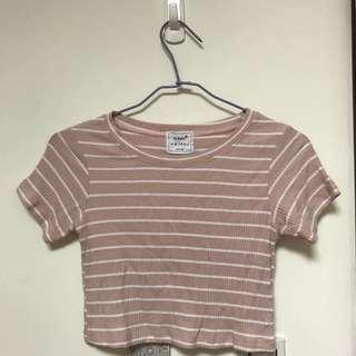 短板粉色條紋上衣