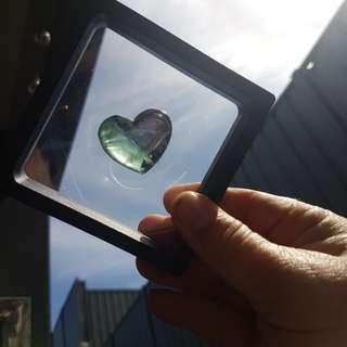 Framed fluorite crystal heart