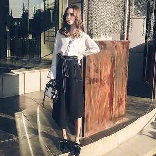 Minimei追加款✪韓版韓系氣質顯瘦高腰裙+V領長袖襯衫兩件套