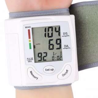 Sphygmomanometer Wrist Cuff Arm Blood Pressure Monitor - White with Free Shipping!
