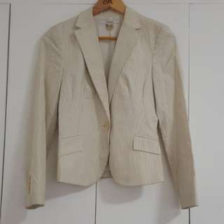 ZARA BEIGE STRIPED BLAZER /JACKET SIZE MEDIUM