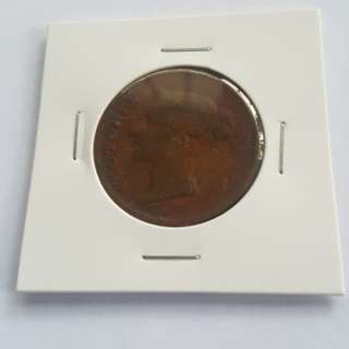 1862 India straits 1 cent