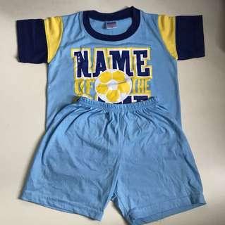 Blue Set of T-shirt and Shorts