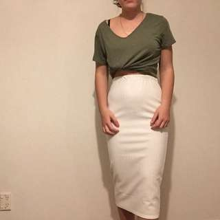 White mid Skirt