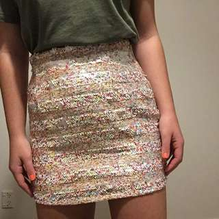 Colour sequins skirt
