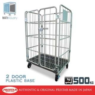 500kg Two Door Metal OR Plastic Base Worktainer Roll Cage Trolley PRESTAR (Made in Japan)