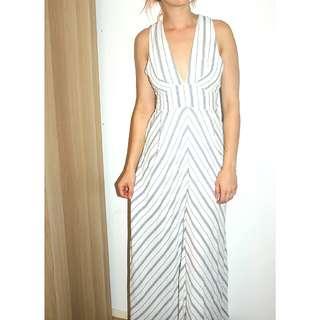 White striped formal dress