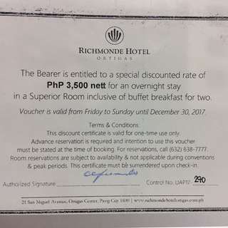 Richmonde Hotel Ortigas overnight stay with buffet breakfast for two