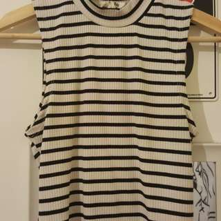 High collar stripe rib top