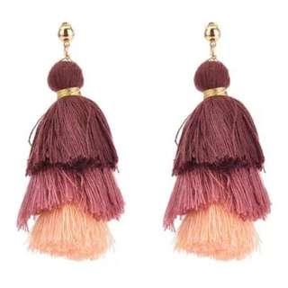 BNWT Revolve Etsy Boho Tassel 3 Tiered Ombré Earrings (RRP $60)