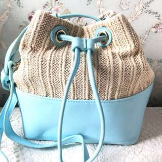 草編 藤織 拼仿皮水桶袋 手袋 包包 斜揹袋 23x24 cm