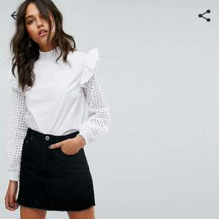 Asos High Neck Cotton Blouse