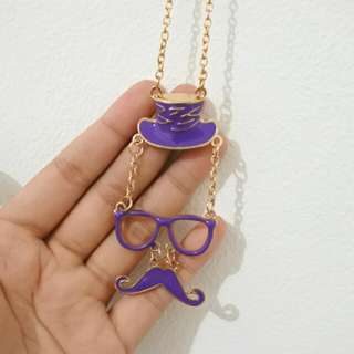 Kalung/ Necklace Mustache Ungu