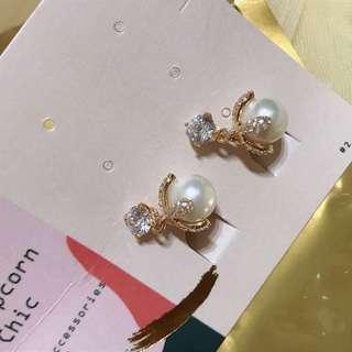 韓國水鑽珍珠耳環