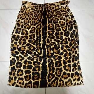 Saint Laurent Leopard Silk Skirt