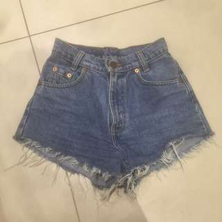 Levi vintage high waisted denim shorts with red tag size 6