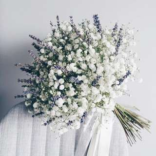 Classic Bridal Bouquet in Baby Breath and Dried Lavender