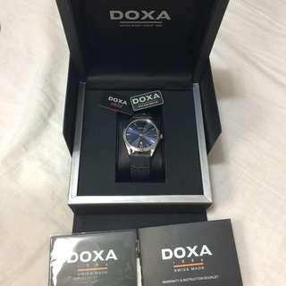 全新DOXA瑞士時度行政纖薄系列男裝手錶(藍色錶面)