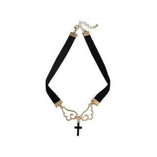 少女系天使翅十字架頸鏈