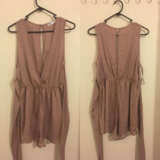 SATIN WRAP PLAYSUIT