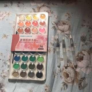 36 colours watercolour cake set