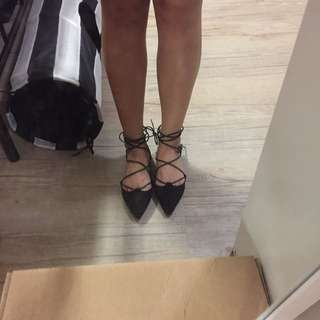 Black lace up flat