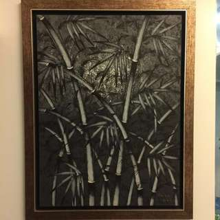 Black And White Art Oil Painting Bamboo