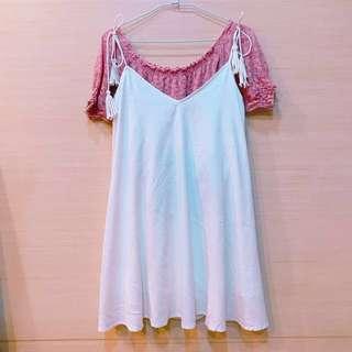 日本帶回流蘇雪紡不規則裙擺浪漫連身裙