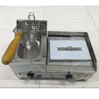 Stainless Hamburger Grill With Deep Fryer
