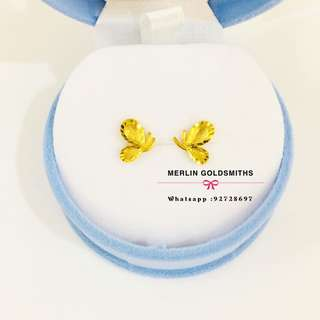 916 Gold Butterfly Ear Studs  / Italy Design 916 黄金小蝴蝶耳钉-意大利款式