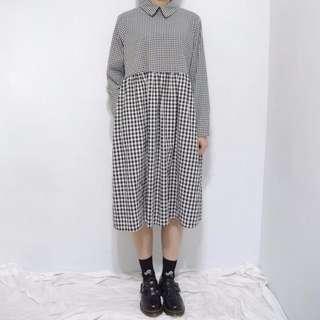 。error dot。日本黑白小格拼接大格紋洋裝