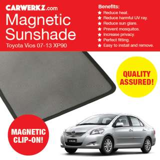 RESTOCKED: Quality Toyota Vios 07-13 XP90 NCP93 4pc Magnetic Sunshades