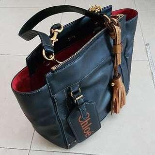 Chloe Navy Leather Tote Bag Handbag With Tan Tassle