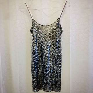 Black slip with silver sequins