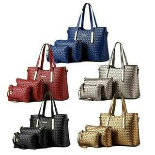 ALX 3 in 1 Authentics Korean Premium Leather Fashion Bag Set Handbag Wallet Beg