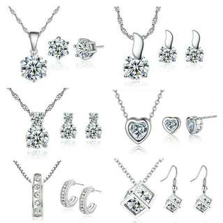 Silver Plated Zirconia Diamond Necklace & Earrings Set-Free Box#MidNovember50