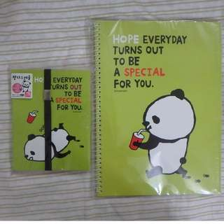 [BRAND NEW] Small Panda Planner and Plain Notebook