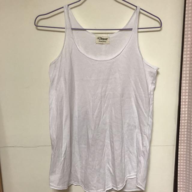 素色白色無袖